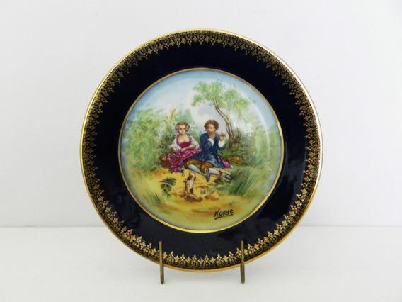 Plato Decorativo Porcelana Limoges M F Con Escena Firmada