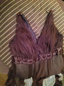 Vestido Alta Noche, Chocolate Dorado,estilo Griego De Diseño