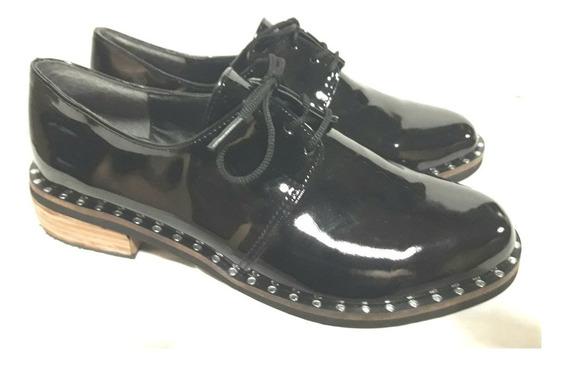 Zapatos Dama Acordonados Charol