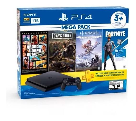 Ps4 Playstation Slim 1tb 3 Jogos Mega Pack + Nfe Envio Td Br