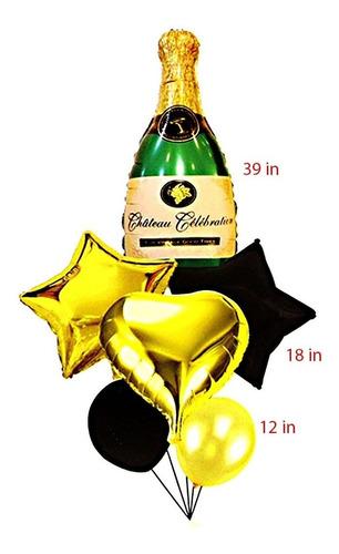 Bouquet Globos Metalizado Botella Champaña 1 Metro X6 Piezas