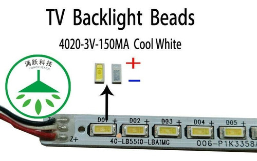 Led Smd 4020 3v 150ma  Para Reparar Tv (pack De 10 Unidades)