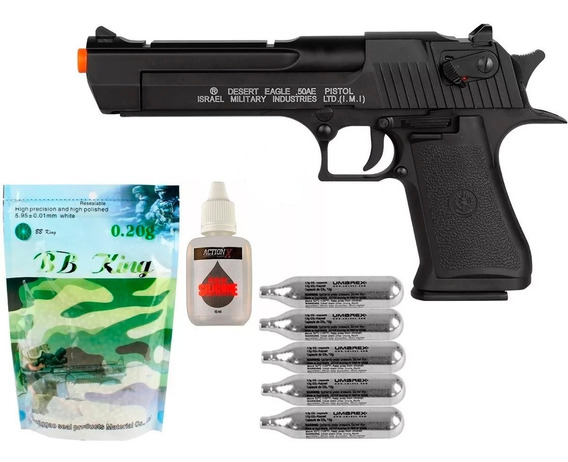 Pistola Airsoft Co2 Desert Eagle .50ae + 5 Co2 + Bbs + Óleo