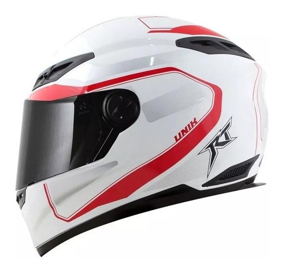 Capacete Moto Race Tech Fechado Evo Unik Branco E Vermelho