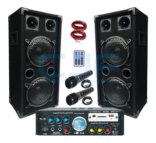 Combo Karaoke Bafles 8 + Consola Usb Sd Fm 4canales+2mic Cjf