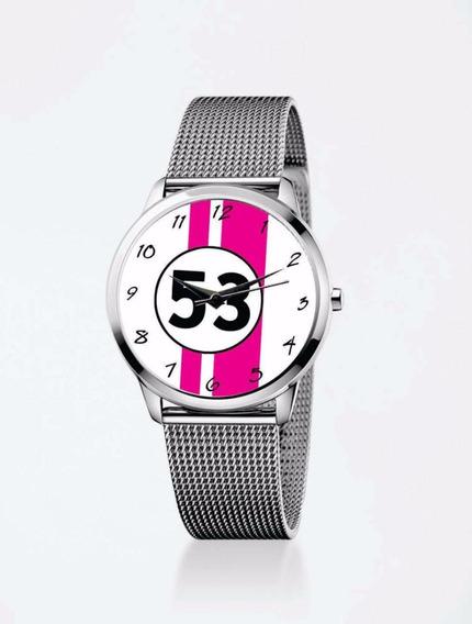 Relógio De Pulso Personalizado Feminino Vw Fusca 53 Pink