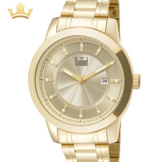 Relógio Dumont Masculino Analógico Dourado Original + Nf
