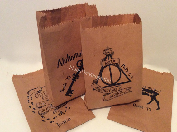 Bolsa Kraft Personal. Harry Potter + Mini Broche -por Unidad