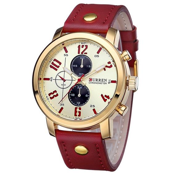 Relógio Curren 8192 Original Esportivo Dourado Masculino