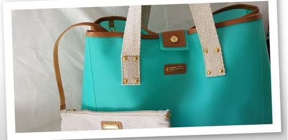 Bolsa Grande Praia Silicone Tiffany + Clutch Tecido Natural
