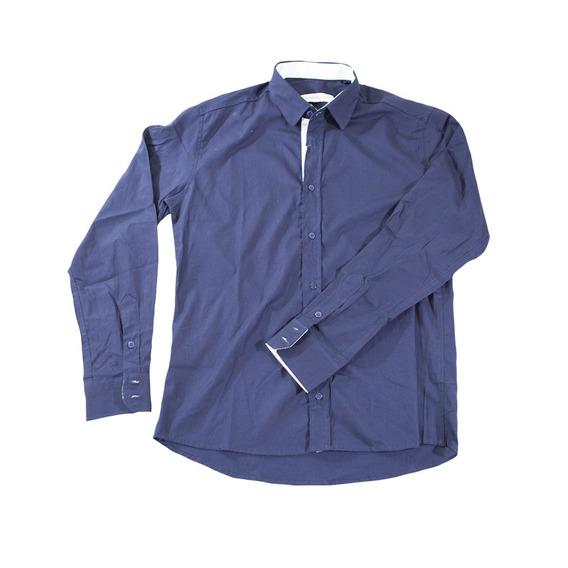 Kit Com 3 Camisas Sociais Masculinas Lisas Slim Fit