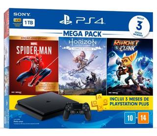 Playstation 4 Mega Pack V15 1tb 1 Controle Preto Com 3 Jogos