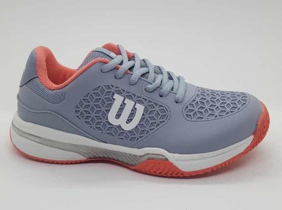 Zapatillas Wilson Match Mujer Tenis Padel Gris Coral