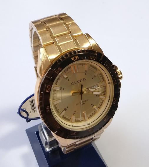 Relógio Dourado Masculino Atlantis G-3392 Original.
