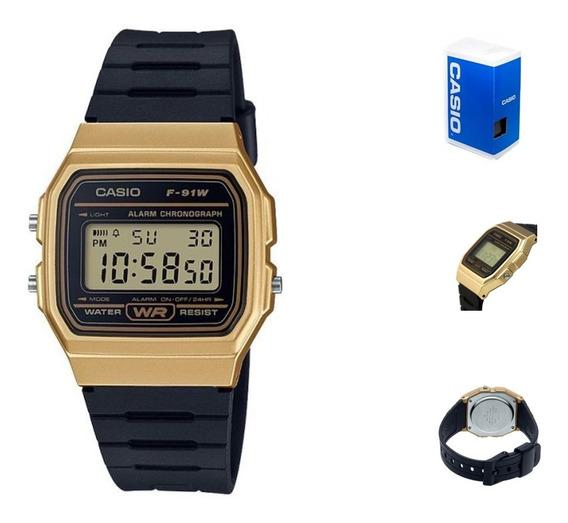 Reloj Casio Vintage F91 Unisex Dorado Full