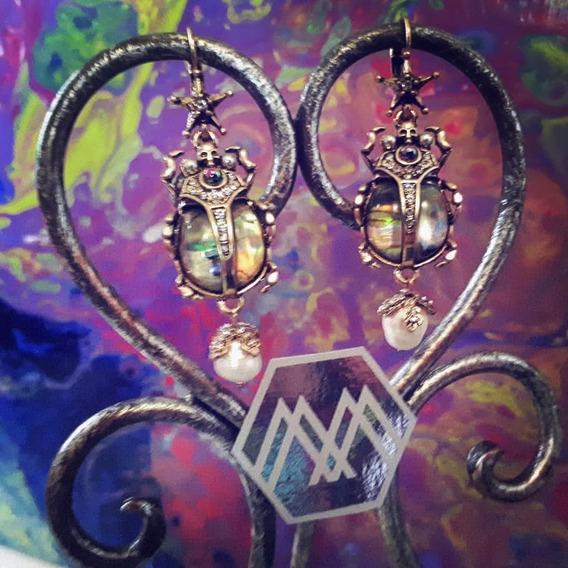 Par de aretes mariquitas escarabajo suerte icono krabbeltier arete de metal