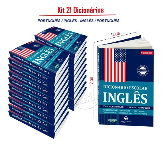 Kit 21 Dicionarios Inglês Escolar 12x17cm (atualizado)