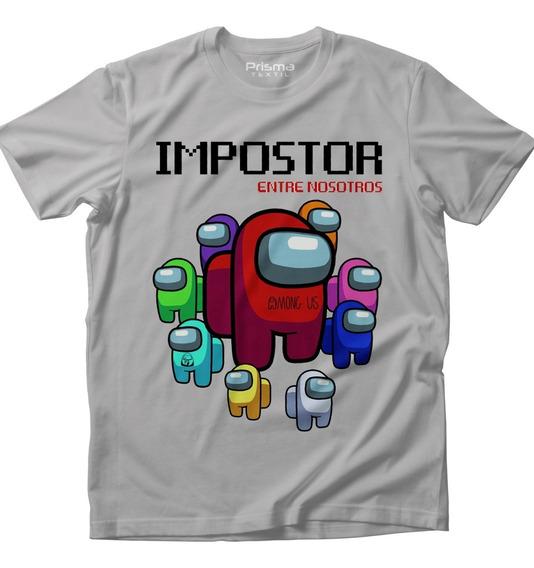 Playera Among Us Impostor Videojuegos Gris