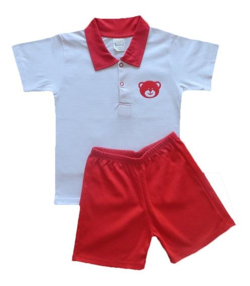Conjunto Camiseta Camisa E Shorts Menino 100% Algodão 2 - 3 Anos