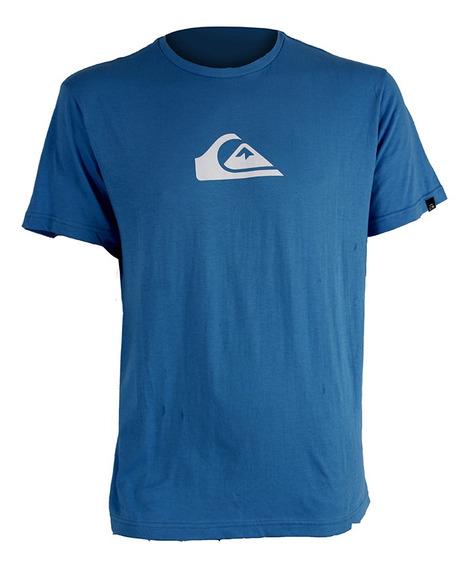 Remera Quiksilver Logo Azul Blanco Hombre Rcmdr