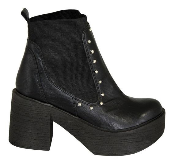 Zapatos Botas Mujer Taco Alto Tachas Elastico