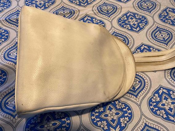 Mochila De Cuero Blanca Pequeña