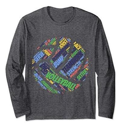 Colores Felices Unisex Voleibol Sayings Camiseta De Manga La