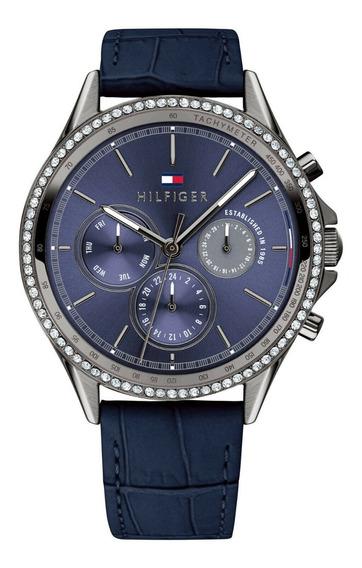 Relógio Tommy Hilfiger Feminin Couro Azul -1781979 Original