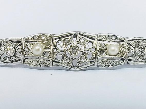 Bracelete Antigo C/ 49 Diamantes Ouro Branco 18 K 750 Luxo!!