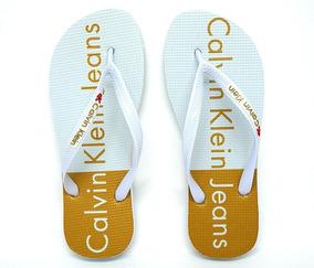 Chinelo Calvin Klein Branco E Dourado