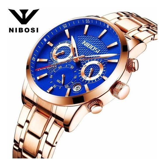 Relógio Masculino Nibosi 2313-1 Dourado Rose Fundo Azul 30m