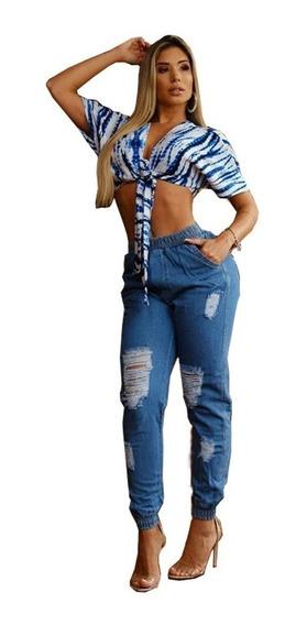 Calça Jogger Feminina Jeans Destroyed Cintura Alta Jog02