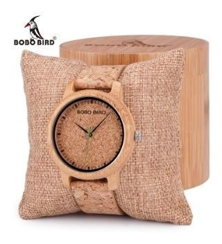Relógio Masculino Bambu Analógico Bobo Bird Cortiça M11