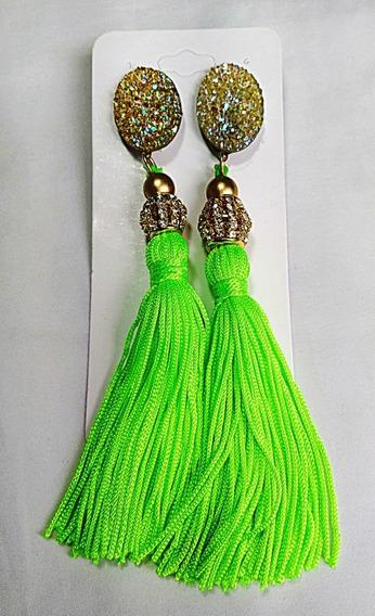 Brincos Femininos Dourado Brilho E Tassel Neon Exclusivo
