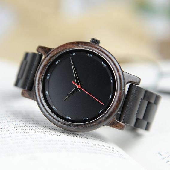 Relógio Black Especial Automático Casual Madeira Bobo Bird