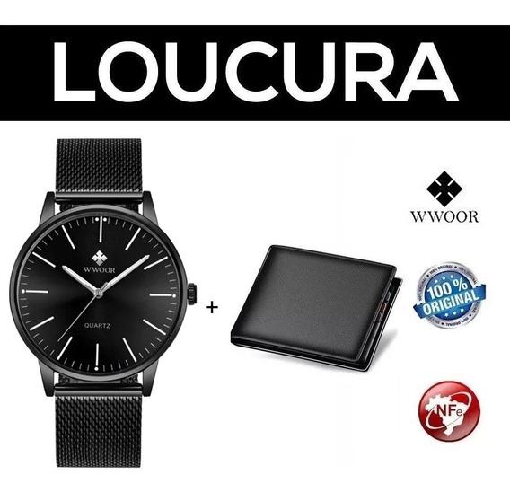 Relógio Masculino Social Luxo Wwoor Preto + Carteira Brinde