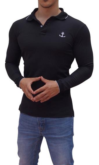 Playeras Polo John Leopard Manga Larga Muscle Fit