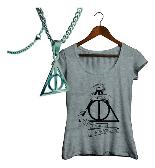 Pack Premium Harry Potter Collar Reliquias Acero + Remera