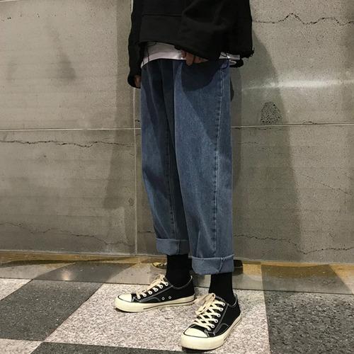 Azul Jeans Para Hombre Pantalones Anchos De Pierna Pantalon Mercado Libre