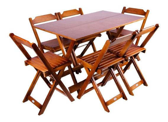 Jogos Conjuntos Mesa Bar Dobrável Madeira 1,20x70 Com 6 Cad.