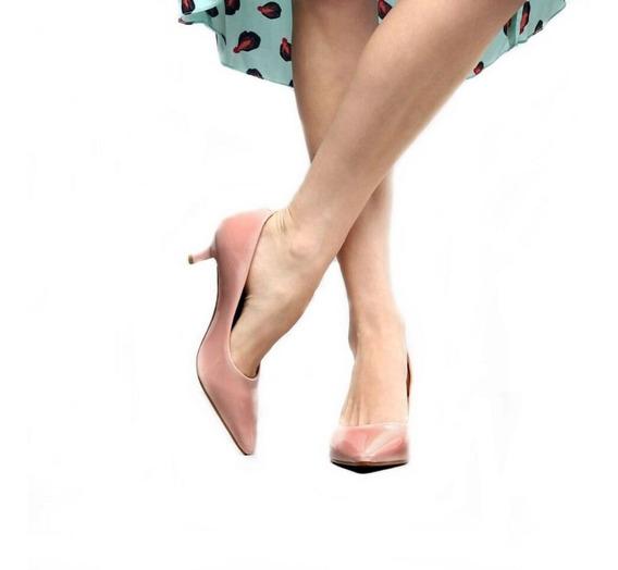 Sapato Scarpin Feminino Rosê Salto Médio 6,5 Cm Festa Noite