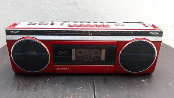 Rádio Portátil Usado Toca Fita Sharp Modelo Qt12