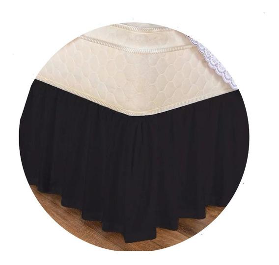 Saia Cama Box Casal - Branca / Preta Menor Preco