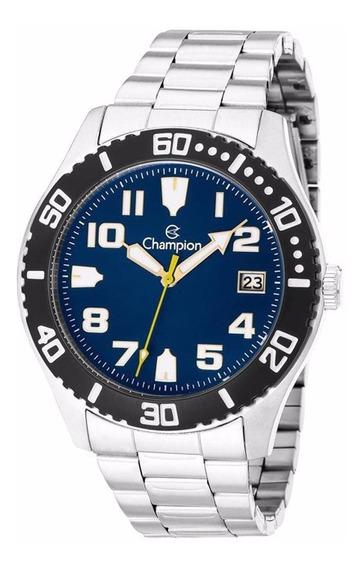 Relógio Masculino Champion Em Aço Ca31364a Fundo Azul