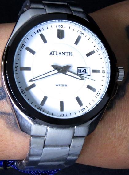 Relógio Submariner Atlântis Prata Aço Inox Original Top C179