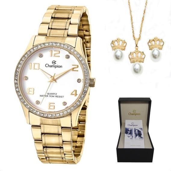 Relógio Feminino Champion Cn29089w Colar E Par De Brincos