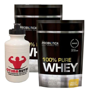 Kit 2x 100% Pure Whey - 825g Baunilha - Probiotica Squeeze