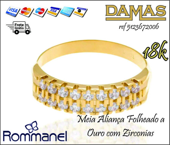 Meia Aliança Folheado A Ouro Com Zirconias Rommanel