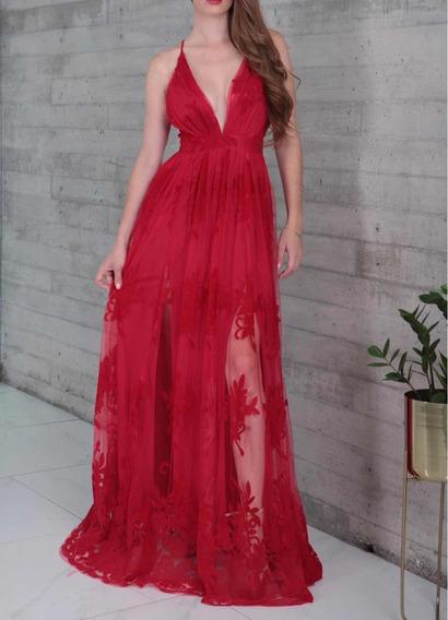 Vestido Rojo Tul Y Terciopelo