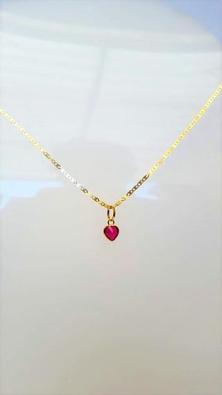 Cordão Feminino Em Ouro 18k Piastrine 45cm Ping Coração